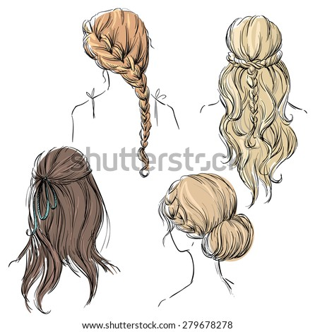 set of different hairstyles. Hand drawn.  - stock photo