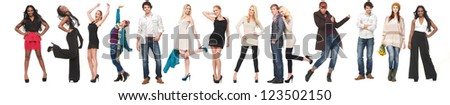 Set of different happy people. Young men and women from many nationalities isolated on white background - stock photo