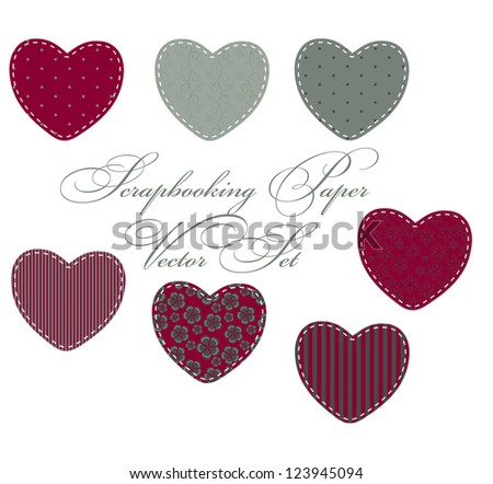 set of different hearts, design elements - stock photo