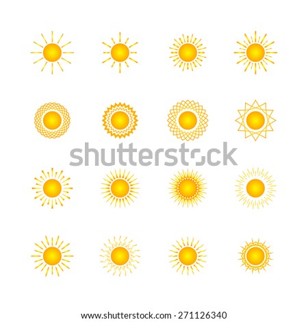 Set of different images of the sun, abstract yellow  sun - stock photo