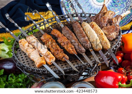 set of different kebabs in asian style