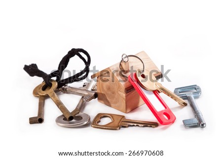 Set of different keys with a model house made from olive wood - stock photo