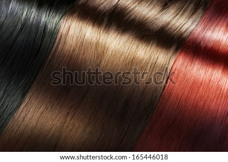 Set of different long shiny hair color - stock photo