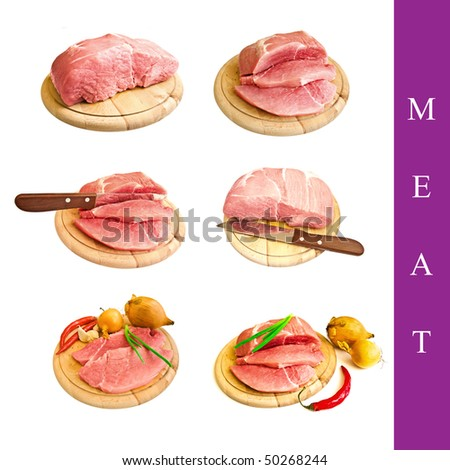set of different meat images over white background - stock photo