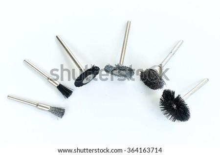 Set of different mini rotary tool bits - stock photo