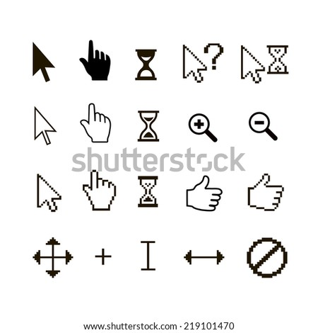 set of different mouse cursors: finger hand thumb up and magnifier - stock photo