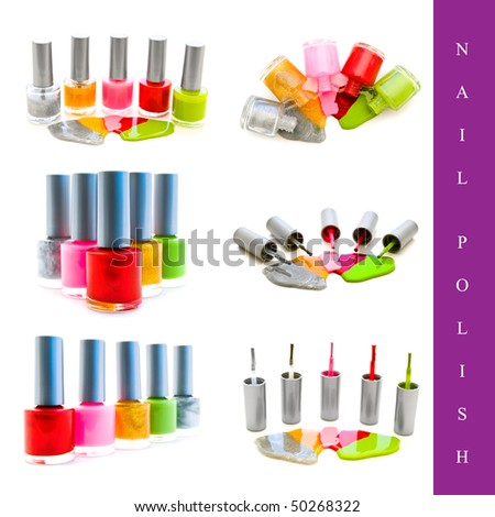 set of different nail polish images over white background - stock photo