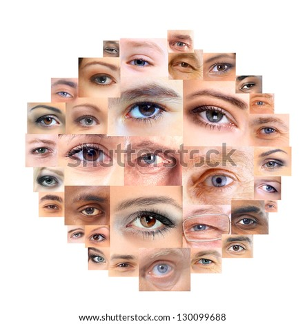 Set of Different Open Eyes - stock photo