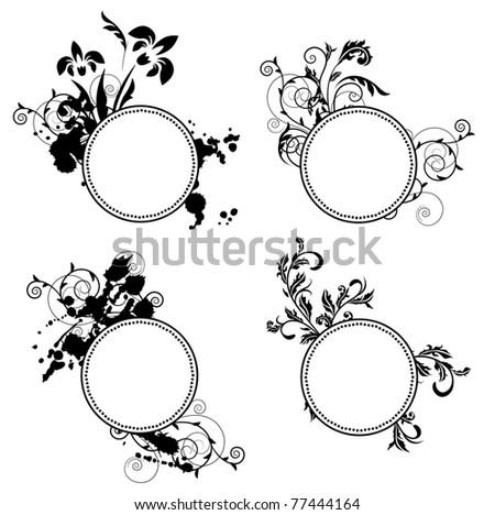 Set of different ornate frames. Raster version. - stock photo