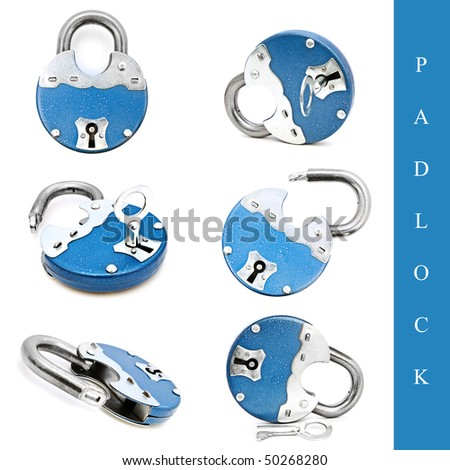 set of different padlock images over white background - stock photo