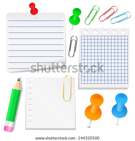 Set of different paper, push pins and clips - stock photo
