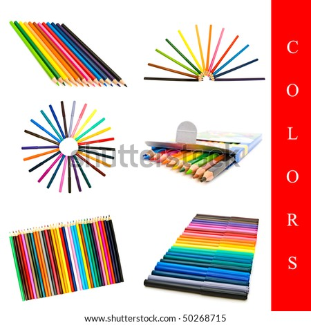 set of different pencils and felt-tips images over white background - stock photo