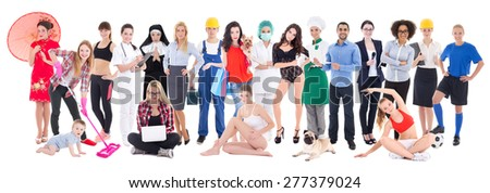 set of different people isolated on white  background - stock photo