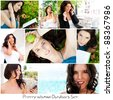 Set of different photo. Young pretty woman lifestyle. One model in different situations - stock photo