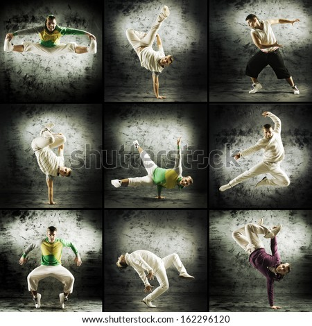 Set of different photos with the man dancing breakdance and hip-hop - stock photo