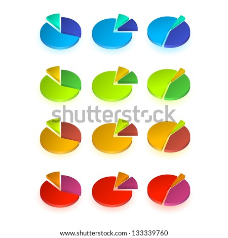 Set of different  pie chart. Raster version of the loaded vector. - stock photo