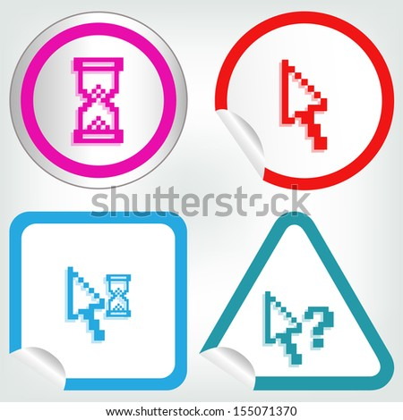 set of different pixel cursors icons on sticker button in modern style ...