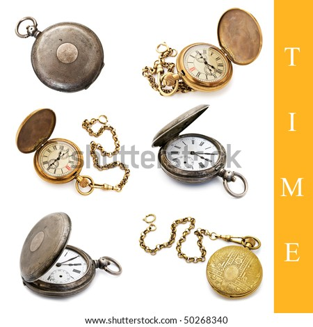 set of different pocket watch images over white background - stock photo