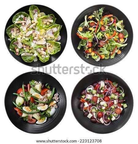 Set of different salads on white background.  Includes chicken Caesar, garden, Nicoise, and Greek. - stock photo