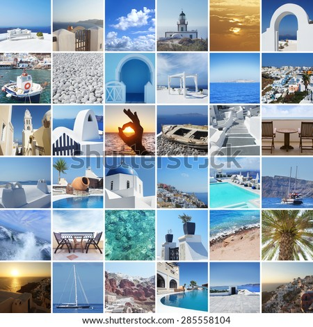 Set of different Santorini photos. Rest and traveling in Greece concept. - stock photo