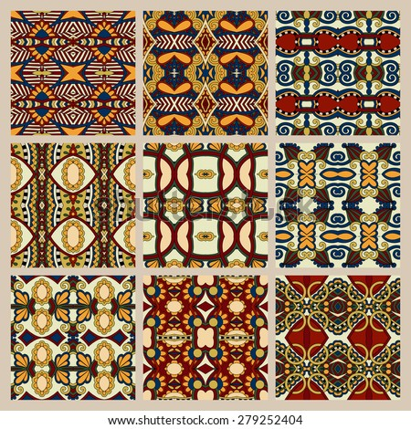 set of different seamless colored vintage geometric pattern, texture for wallpaper, web page background, fabric and wrapping paper design, beige color , raster version - stock photo