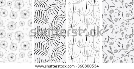 Set of different seamless patterns backgrounds. Raster version - stock photo