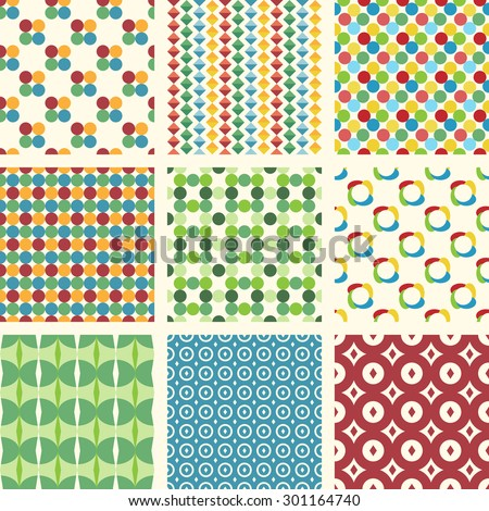 Set of 10 different seamless patterns. Can be used for wallpapers, pattern fills, web backgrounds, etc.
