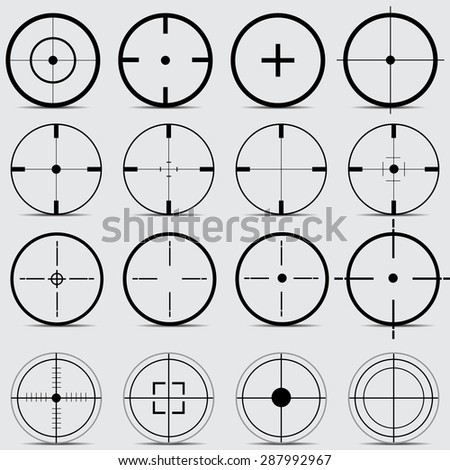 Set of different sights on a gray background