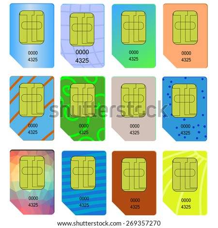 Set of Different SIM Cards Isolated on White Background. - stock photo