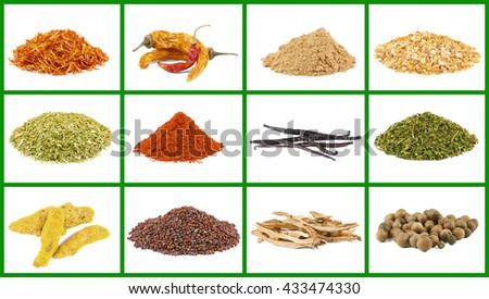 Set of different spices, isolated on white - stock photo