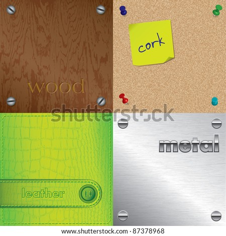 Set of different textures and surfaces - wood, cork, leather and metal structures - raster version of vector ID 87189217 - stock photo