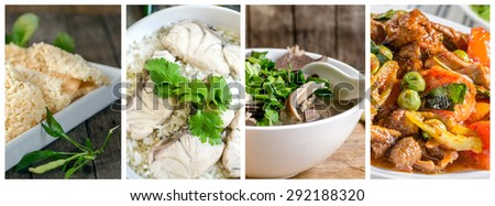 Set of different  Thai food thai rice crackers , crispy rice with minced shrimp and pork dip,Rice Soup With sea  fish ,Spicy boiled entrails pork - stock photo