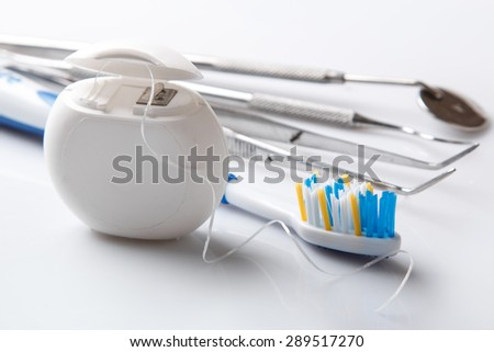 Set of different tools for dental care - stock photo