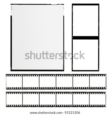 set of different types of films, isolated on white