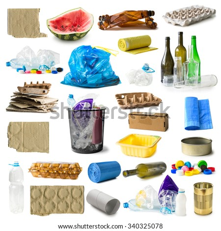 set of different types of trash isolated on white background - stock photo