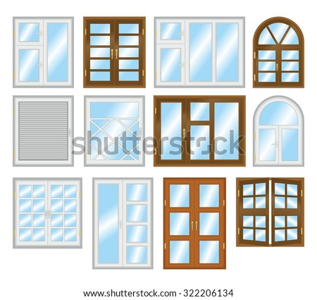 Set of different types of windows.