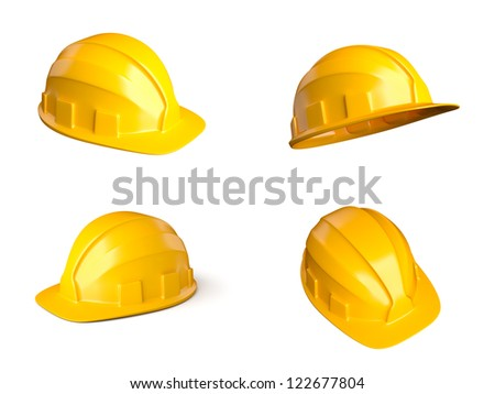 Set of 4 different views of helmets - stock photo