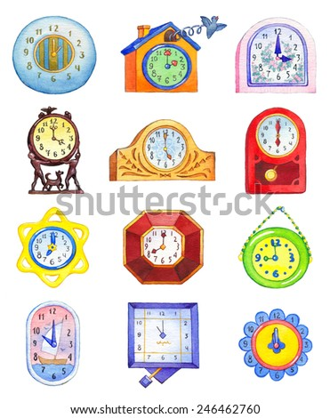 Set of different wall and table clocks featuring all twelve o'clock isolated on white background with clipping mask. Cute watercolor illustrations in style of children's book graphics - stock photo