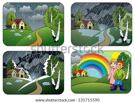 Set of different weather conditions: hail, downpour, thunderstorm and rainbow, hi-res raster from vector illustration