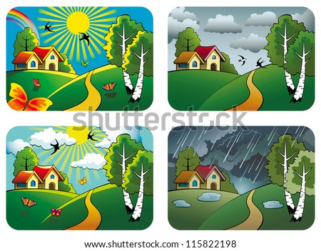 Set of different weather landscapes: sunny, cloudy, overcast and rainy, hi-res raster from vector illustration