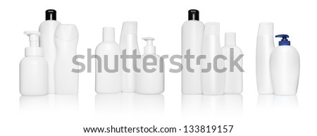 Set of different white bottles for beauty, hygiene and health on a white background with reflection, they shampoo, conditioner and hair products, each of them shot on separately.
