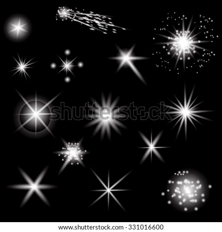 Set of Different White Lights Isolated on Black Background - stock photo