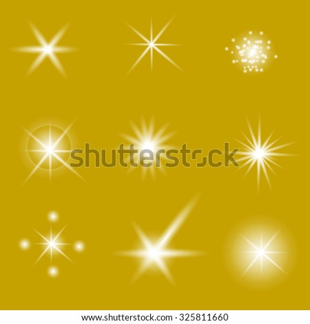 Set of Different White Lights Isolated on Yellow Background - stock photo