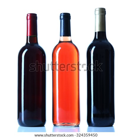 set of different wine bottles isolated on white background - stock photo