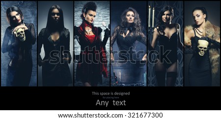 Set of different women. Halloween creatures collection.