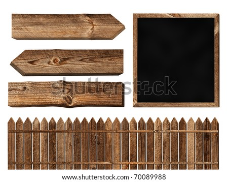 Set of different wooden elements over white background - stock photo
