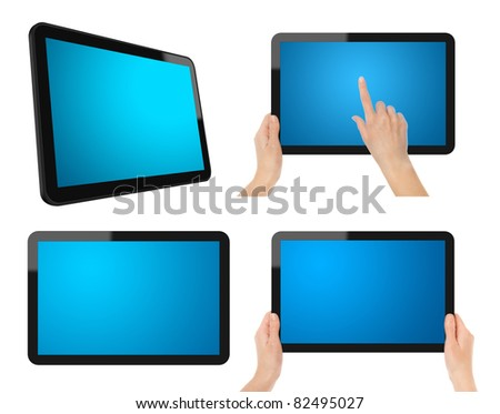 Set of Digital Tablet PC. Each tablet have a clipping path for screen, tablet and hands. - stock photo