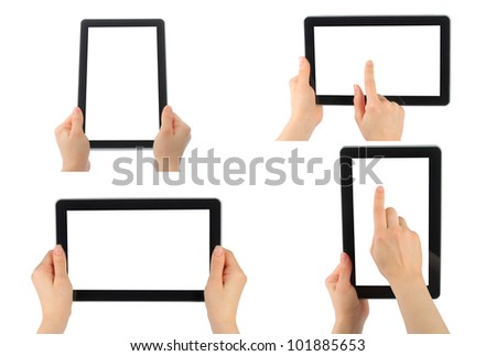 Set of digital tablet PC with hands isolated on white