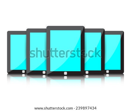 Set of digital tablets with blue blank screen isolated on white. illustration.