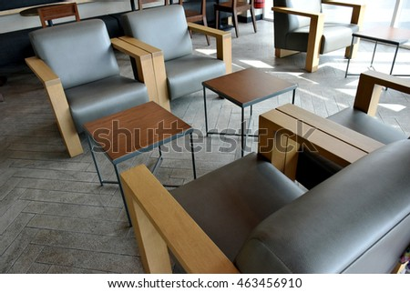 set of Dining table in restaurant